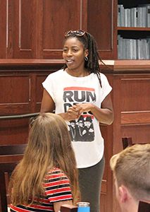 Actress Ameenah Kaplan instructs students in Honors Hall